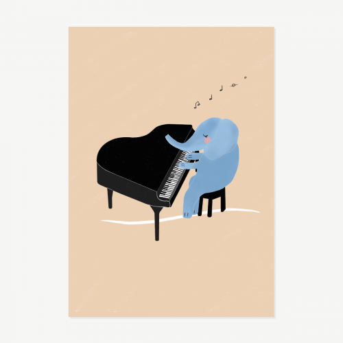 Elephant playing the piano