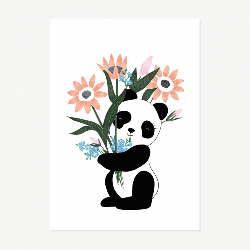 Panda com flores