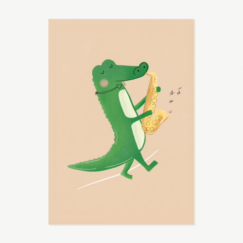 Crocodile playing saxophone