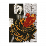 Woman Panther & Roses Mixed Media