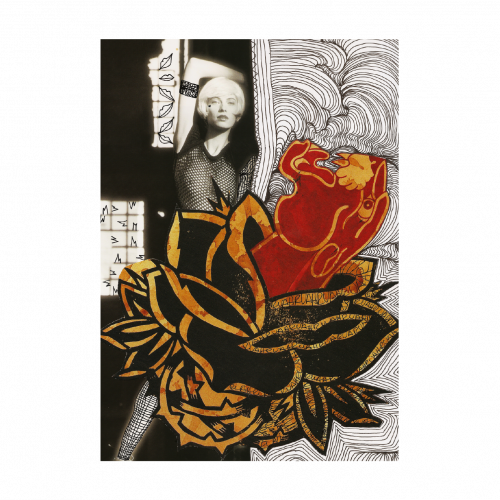 Woman Panther & Roses Mixed Media